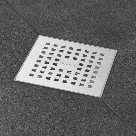 Bonde de sol avec grille inox satiné. Grille design carré 15 x 15 cm (code AquaW-15x15-MSI6+E2F)