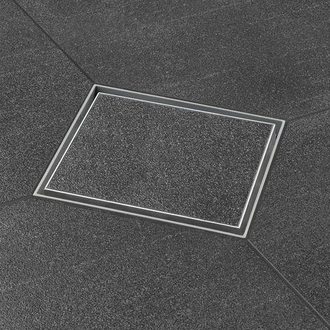 Bonde de sol de douche avec grille modèle à carreler. Grille design carré 15 x 15 cm (code AquaW-15x15-MS16-T+E2F)