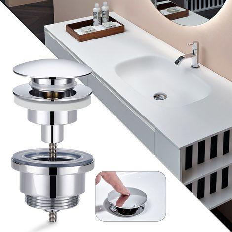 Bonde de lavabo 38 mm Bouton de salle de bain rond en laiton pour salle de bain argent accessoires de lavabo bouchon de cuisine