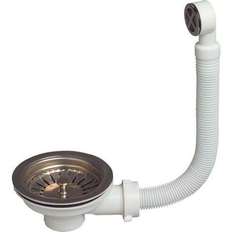 Bonde de vidange à panier inox pour évier 1 bac, diamètre 90 mm avec trop plein rond