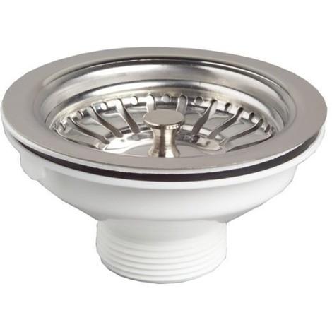 Bonde de vidange à panier inox pour évier, sans trop plein, diamètre 90 mm SP2480050