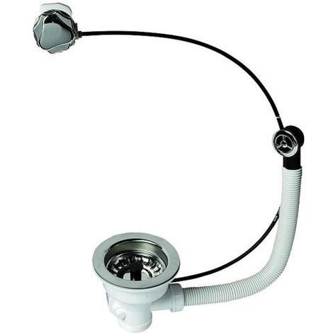 Bonde de vidange à panier pour évier 1 bac, diamètre 90 mm avec commande à câble et trop plein rond 1618