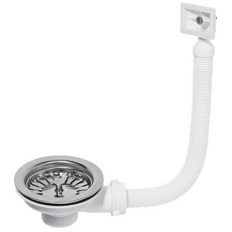 Bonde de vidange à panier pour évier 1 bac, diamètre 90 mm avec trop plein rectangulaire 32440001
