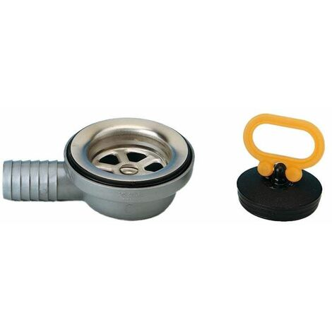 Bonde évier inox coudée à emboîtement par tétine, diamètre 25mm
