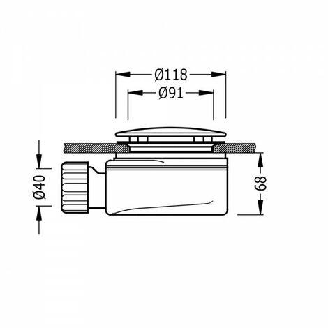 Bonde extraplate avec siphon incorporé Ø 118 mm. Vidage 62 l/min. - TRES 104841