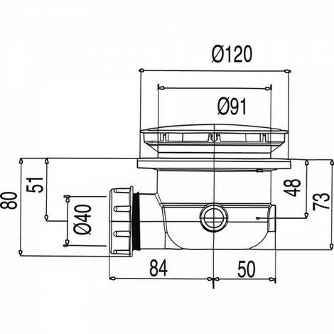 Bonde extraplate avec siphon incorporé Ø 120 mm. Vidage 31 l/min. - TRES 104840
