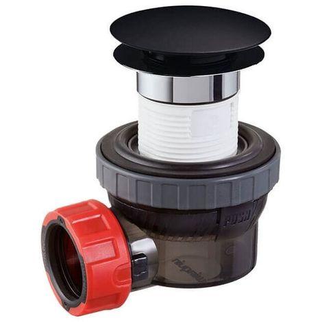 Bonde noire siphon ultra compact WIRQUIN NANO 6.7 D32 Black Touch lavabo vasque