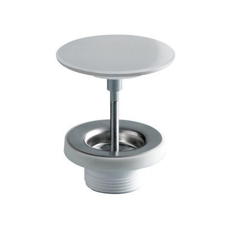 Bonde vasque avec cabochon en solid surface Blanc