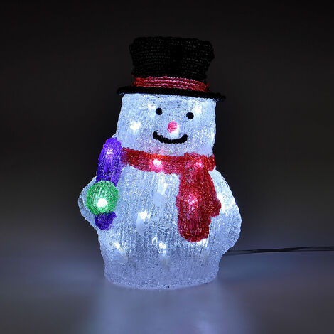Bonhomme de neige à LED - Déco de Noël personnage illuminé en acrylique transparent - figure illumination Noël fenêtre décoration illuminé - 26cm