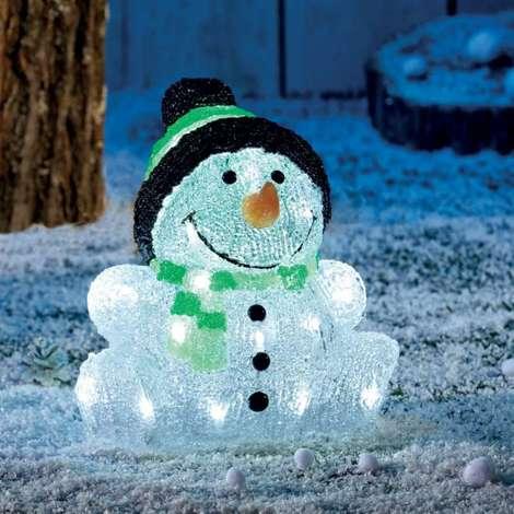 Bonhomme de neige acrylique 30 led Hauteur 24 cm