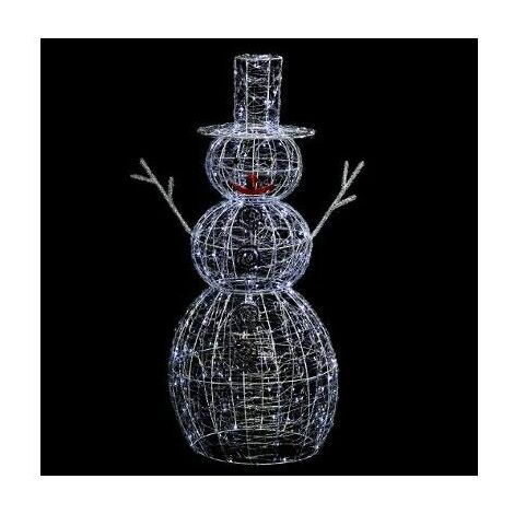 Bonhomme de neige lumineux 200 LED - L 67 cm x l 56 cm - Blanc froid - Livraison gratuite