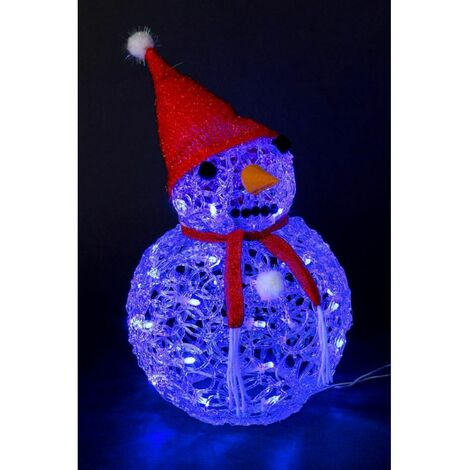 Bonhomme de neige lumineux - Bleu - Décoration lumineuse de Noël - Livraison gratuite