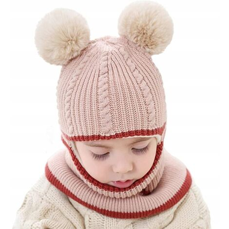 Bonnet hiver laine écharpe enfant bébé coupe-vent à capuche cagoule beige