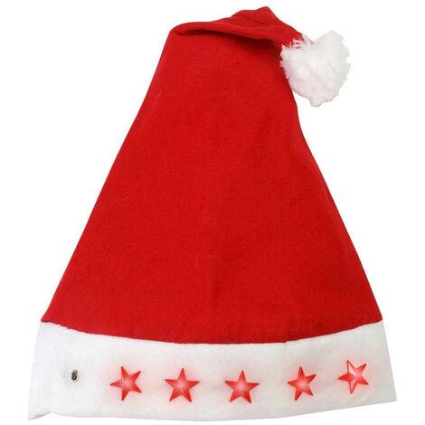 Bonnet Noel lumineux avec étoiles clignotantes Rouge