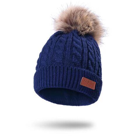Bonnet pour enfants en fil de laine tricoté d\'hiver Bonnet pour enfants en hiver en plein air chaud chapeau blanc