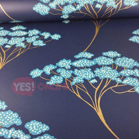 Bonsai Tree Wallpaper Oriental Navy Blue Metallic Shiny Gold Modern Fine Decor