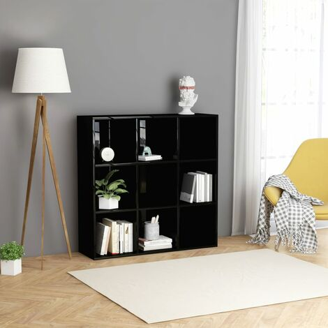 """main image of """"Book Cabinet High Gloss Black 98x30x98 cm Chipboard36012-Serial number"""""""