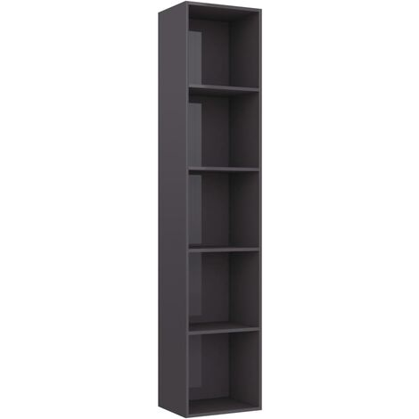Book Cabinet High Gloss Grey 40x30x189 cm Chipboard