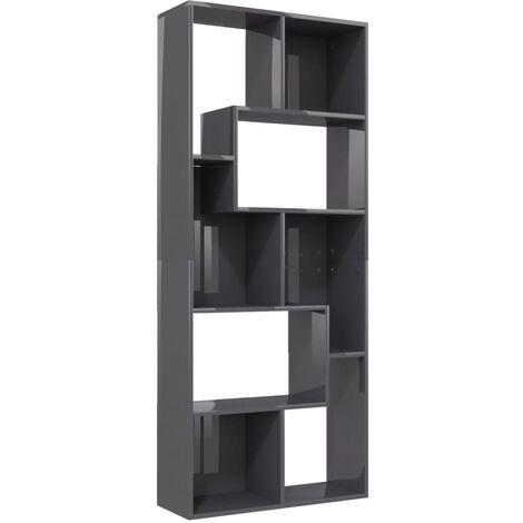 Book Cabinet High Gloss Grey 67x24x161 cm Chipboard