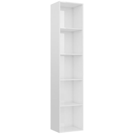 Book Cabinet High Gloss White 40x30x189 cm Chipboard