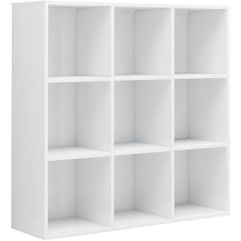 Book Cabinet High Gloss White 98x30x98 cm Chipboard