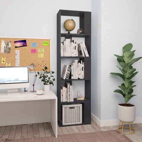 Book Cabinet/Room Divider High Gloss Grey 45x24x159 cm Chipboard