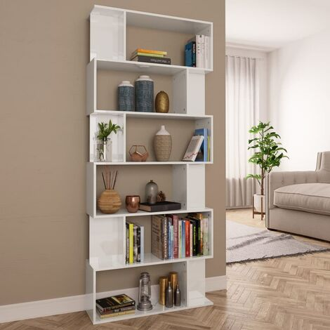 Book Cabinet/Room Divider High Gloss White 80x24x192 cm Chipboard