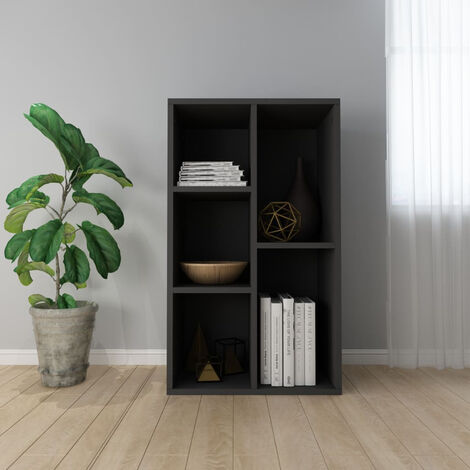 """main image of """"Book Cabinet/Sideboard Black 50x25x80 cm Chipboard"""""""