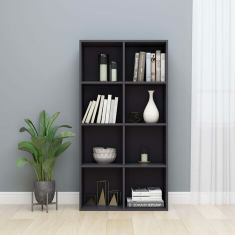 Book Cabinet/Sideboard High Gloss Grey 66x30x130 cm Chipboard