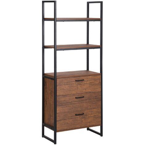 Bookcase Dark Wood and Black TIFTON