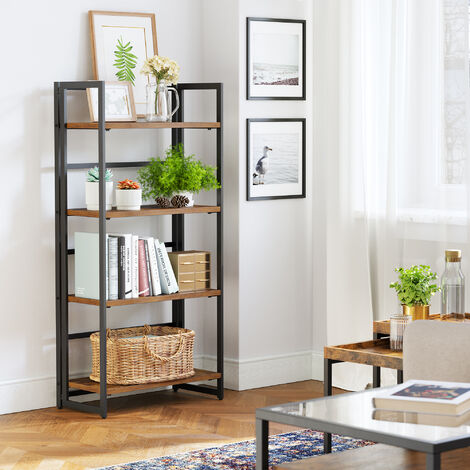 VASAGLE Bookcase, Folding Storage Rack, 4-Tier Bookshelf, Multifunctional Shelving Unit, Easy Assembly, with Metal Frame, for Living Room, Bedroom, kitchen, Vintage, by SONGMICS, LLS88X