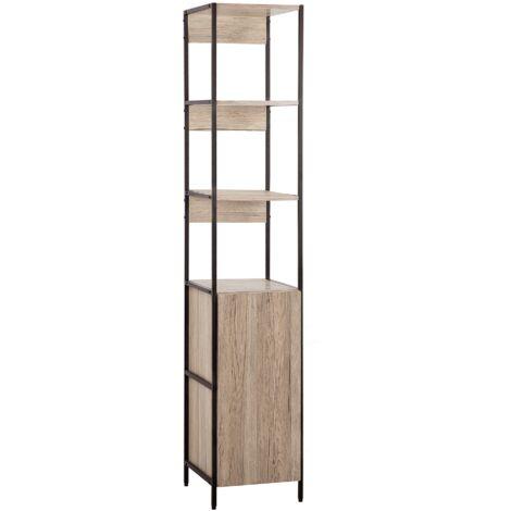 Bookcase Light Wood and Black HARROW