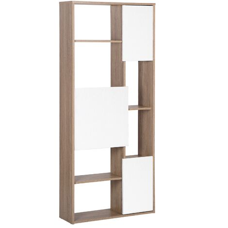 Bookcase Light Wood with White GRADA