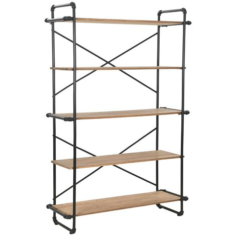 Bookcase Solid Firwood and Steel 120x42x180 cm - Black