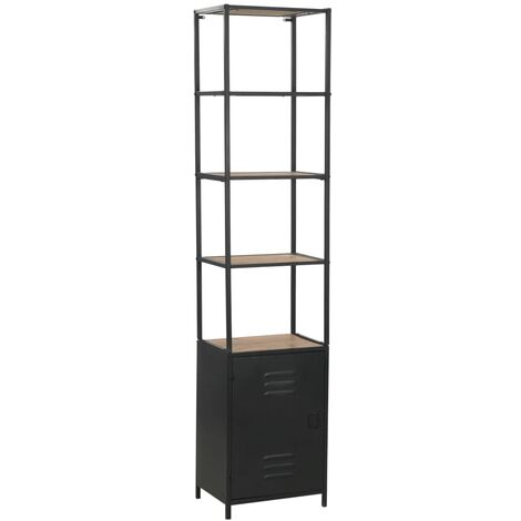 Bookcase Solid Firwood and Steel 40.5x32.5x180 cm - Black