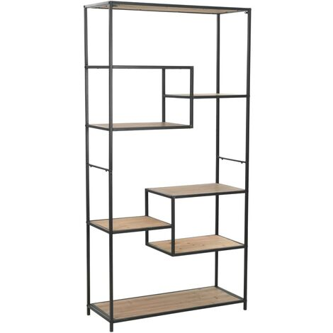 Bookcase Solid Firwood and Steel 90.5x35x180 cm - Black