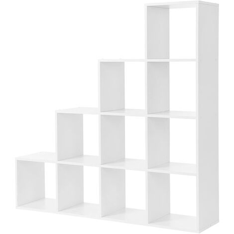 Bookcase Staircase Shelf, 10-Cube Storage Unit, Wooden Display Rack, Free Standing Shelf, Room Divider Step Rack, White