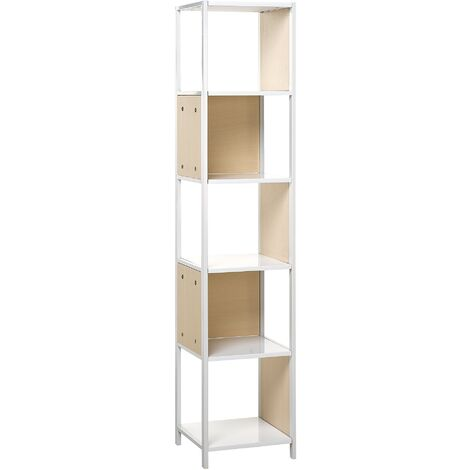 Bookcase White with Light Wood BOGOTA