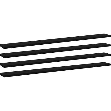 Bookshelf Boards 4 pcs Black 100x10x1.5 cm Chipboard
