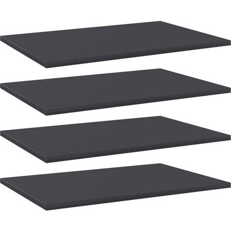 Bookshelf Boards 4 pcs Grey 60x40x1.5 cm Chipboard
