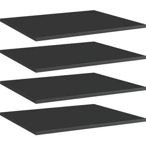 Bookshelf Boards 4 pcs High Gloss Black 60x50x1.5 cm Chipboard