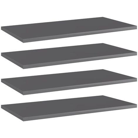 Bookshelf Boards 4 pcs High Gloss Grey 60x30x1.5 cm Chipboard
