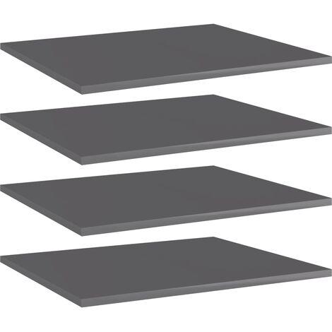 Bookshelf Boards 4 pcs High Gloss Grey 60x50x1.5 cm Chipboard