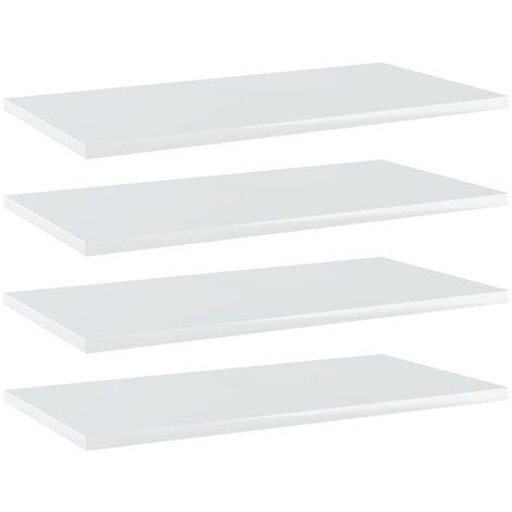 Bookshelf Boards 4 pcs High Gloss White 60x30x1.5 cm Chipboard