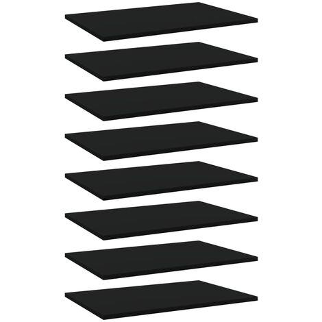 Bookshelf Boards 8 pcs Black 60x40x1.5 cm Chipboard