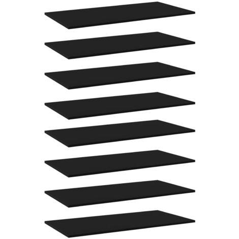 "main image of ""Bookshelf Boards 8 pcs Black 80x20x1.5 cm Chipboard"""