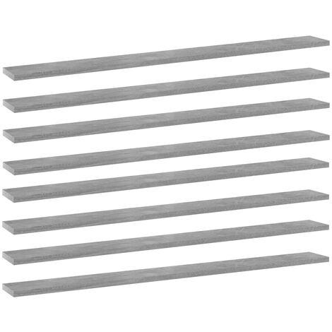 Bookshelf Boards 8 pcs Concrete Grey 100x10x1.5 cm Chipboard