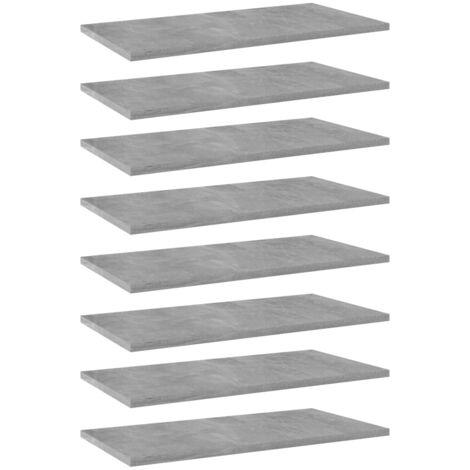 Bookshelf Boards 8 pcs Concrete Grey 60x30x1.5 cm Chipboard