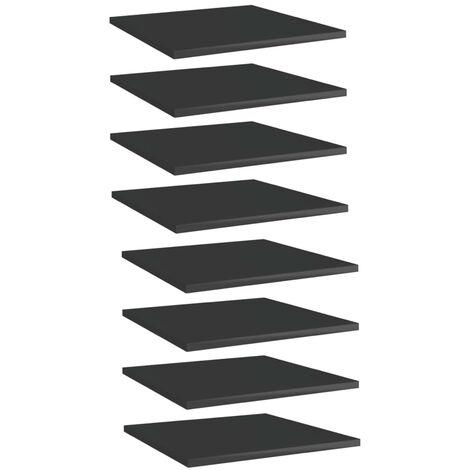 "main image of ""Bookshelf Boards 8 pcs High Gloss Black 40x40x1.5 cm Chipboard"""