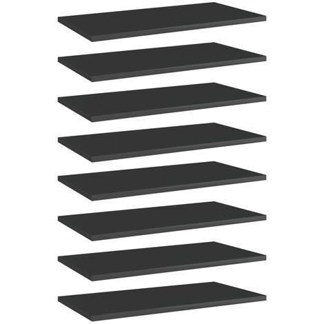 Bookshelf Boards 8 pcs High Gloss Black 60x30x1.5 cm Chipboard